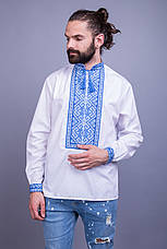 Вышитая мужская сорочка с синим орнаментом, фото 2