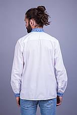 Вишита чоловіча сорочка з синім орнаментом, фото 3