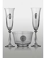 Набор для шампанского Angela Edem платина (2+1)