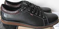 Стильные мужские качественные кожаные туфли большого размера гигант обувь батал кеды черного цвета