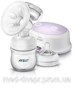 Avent Одинарный электронный молокоотсос Comfort Natural, Бутылочка 125 мл в комплекте