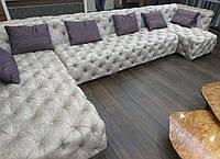 Большой угловой диван для гостиной с каретной втяжкой