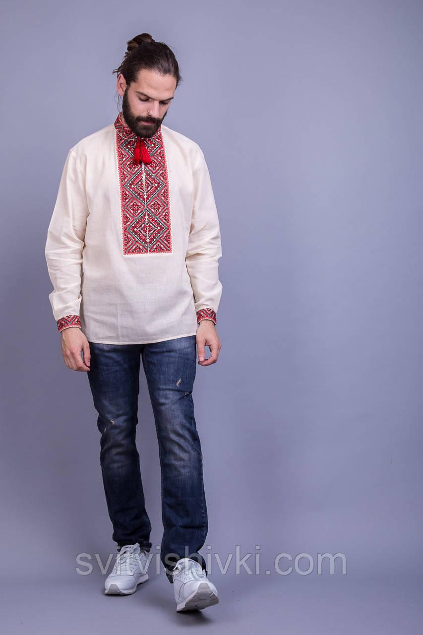 Чоловіча вишита сорочка з оригінальним візерунком вишитим хрестиком