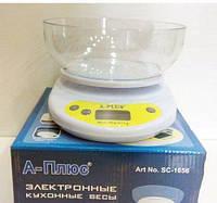 Весы кухонные электронные с чашей и ЖК дисплеем, A-Plus 1656