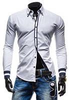 Мужская стильная рубашка с длинным рукавом белая рс26