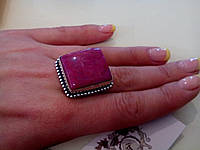 Кольцо с природным лунным камнем в серебре. Индия!