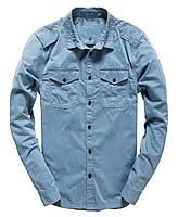 Мужская Джинсовая стильная рубашка с длинным  рукавом ( размер S)