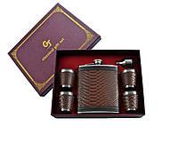 Подарочный набор фляга, 4 стопки, лейка (кожа)