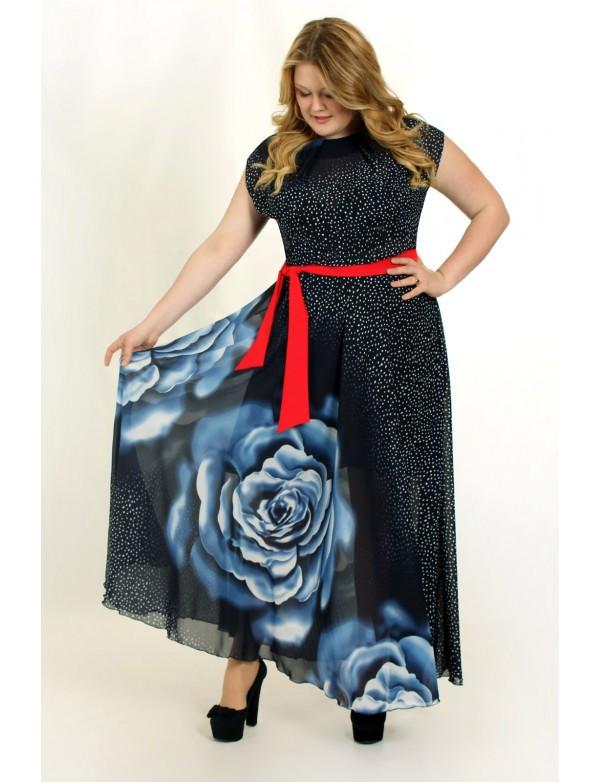Платье из шифона с пояском
