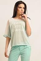 Трикотажная повседневная блуза футболка свободного кроя с цельнокроеным рукавом  42-52 размеры