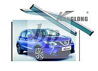 Дефлекторы окон (ветровики) с хром полосой (кантом-молдингом) Nissan qashqai j11 (ниссан кашкай) 2014+