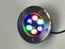 Светодиодный тротуарный линзованный светильник LM11 6W RGB IP65 220V Код.58901, фото 2