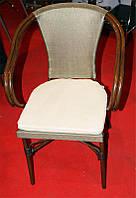Стул-кресло ALC-3300 крашенный алюминий с искуственным ротангом,мягкое тканевое сиденье для открытых площадок