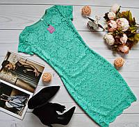 Мятное гипюровое платье  с короткими рукавами