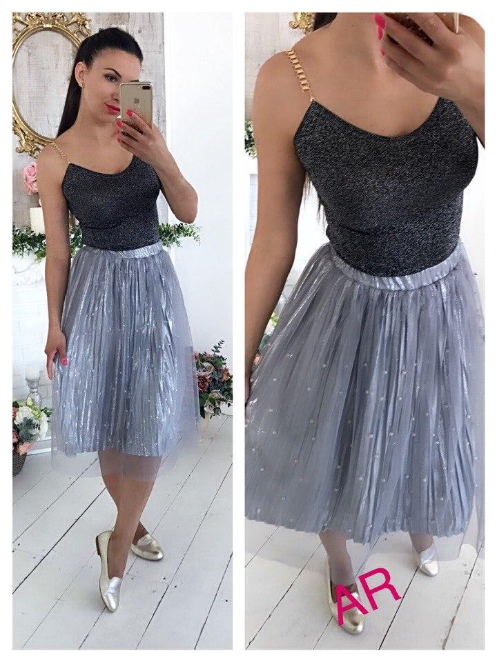 6828d04a164 Очаровательная женская юбка (плиссированная органза усыпана жемчужинами