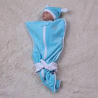 Велюровая пеленка-мешок для малышей с шапочкой, 4-9 мес