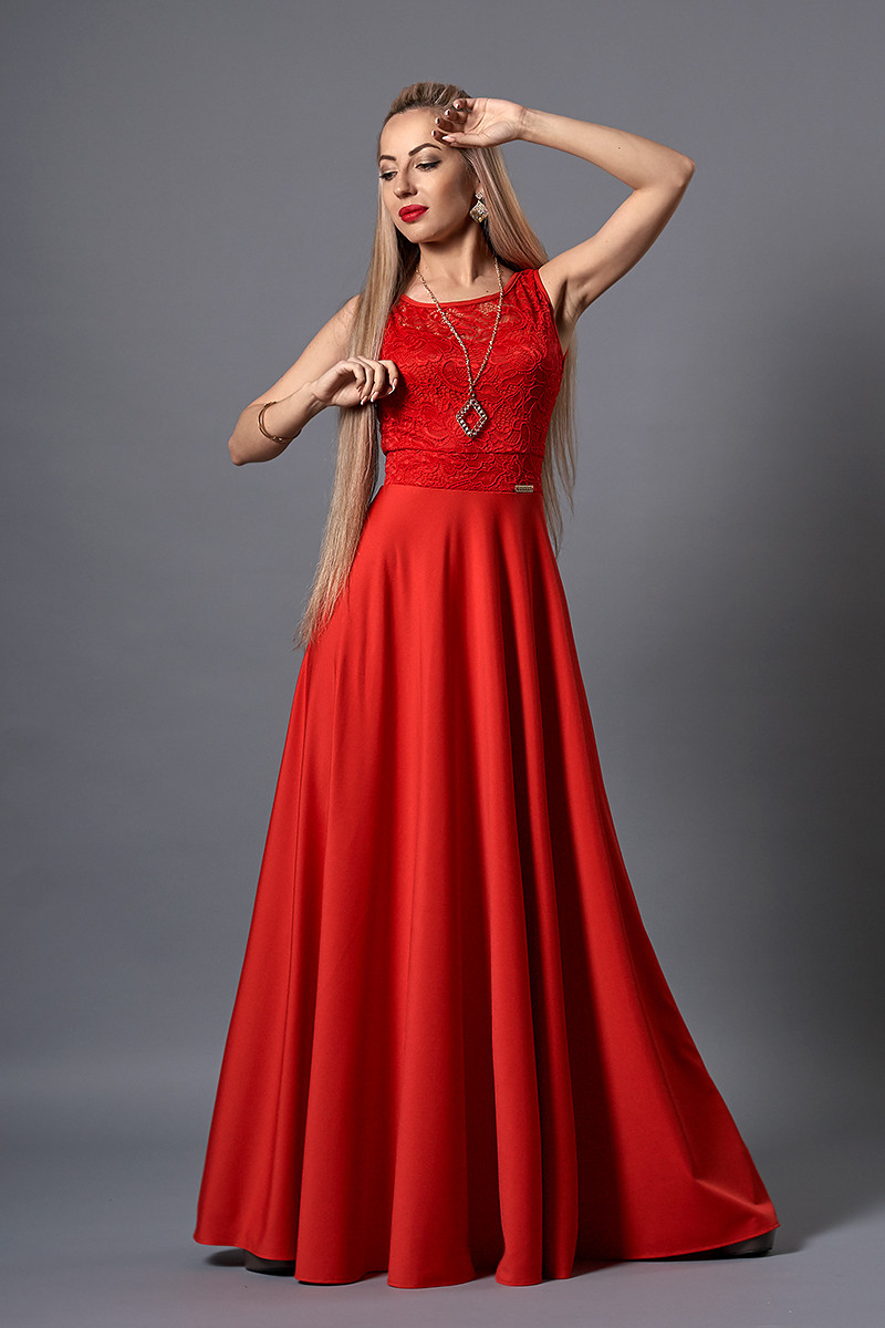 Платье мод 516-1,размер 46 красное