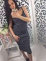Платье-майка в полоску , миди , белое , синее ! , фото 1