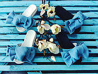 Шлепки с бантом из неопреновой сетки , ортопедическая стелька, голубой