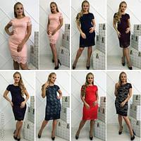 Модное женское платье в расцветках батал / Украина / гипюр