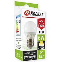 Светодиодная лампочка LED Rocket тёплый свет G45 6w цоколь Е27