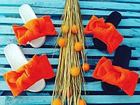 Шлепки с бантом из неопреновой сетки , ортопедическая стелька, оранж
