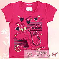 Малиновая футболка с якорем для девочки от 3 до 7 лет (5294-7)