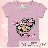 Футболка с сердцами для девочки от 3 до 7 лет (5295-1)