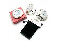 Зеркальце косметическое с камнями серебро (в коробке + чехольчик) ( 25188)
