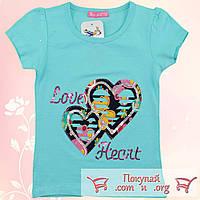 Футболка с сердцем для девочки от 3 до 7 лет (5295-2)