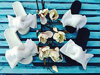 Шлепки с бантом из неопреновой сетки , ортопедическая стелька, белый