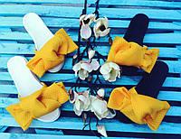 Шлепки с бантом из неопреновой сетки , ортопедическая стелька, желтый