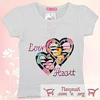 Белая футболка с сердцем для девочки от 3 до 7 лет (5295-4)