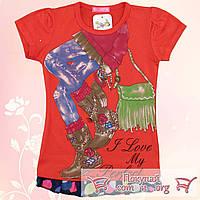 Летние футболки для девочек от 5 до 8 лет (5296-3)