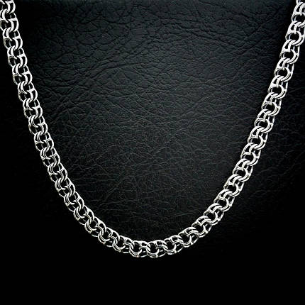 Серебряная мужская цепь, 550мм, 45 грамм, плетение Бисмарк, фото 2