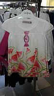 Платье летнее белое для девочки с арбузами