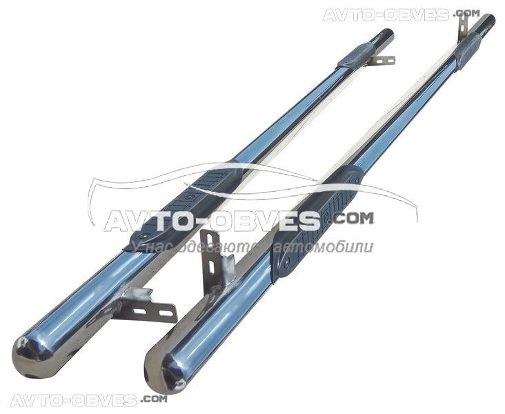 Трубы боковые с проступью для Fiat Doblo 2001-2012, кор (L1) / длин (L2) базы, Ø 60 мм