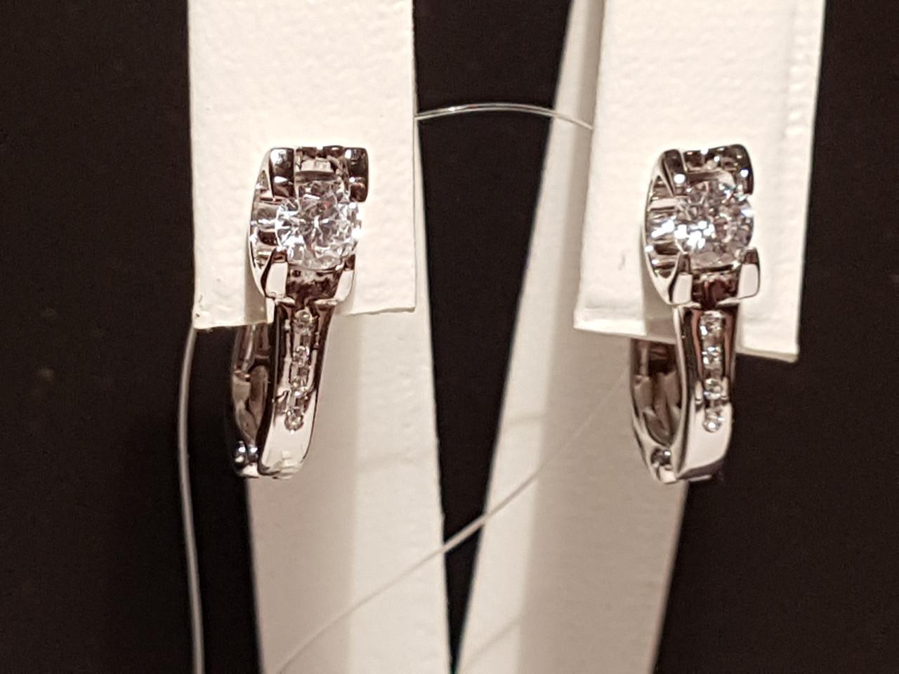 Срібні сережки фіанітами. Артикул 902-00493