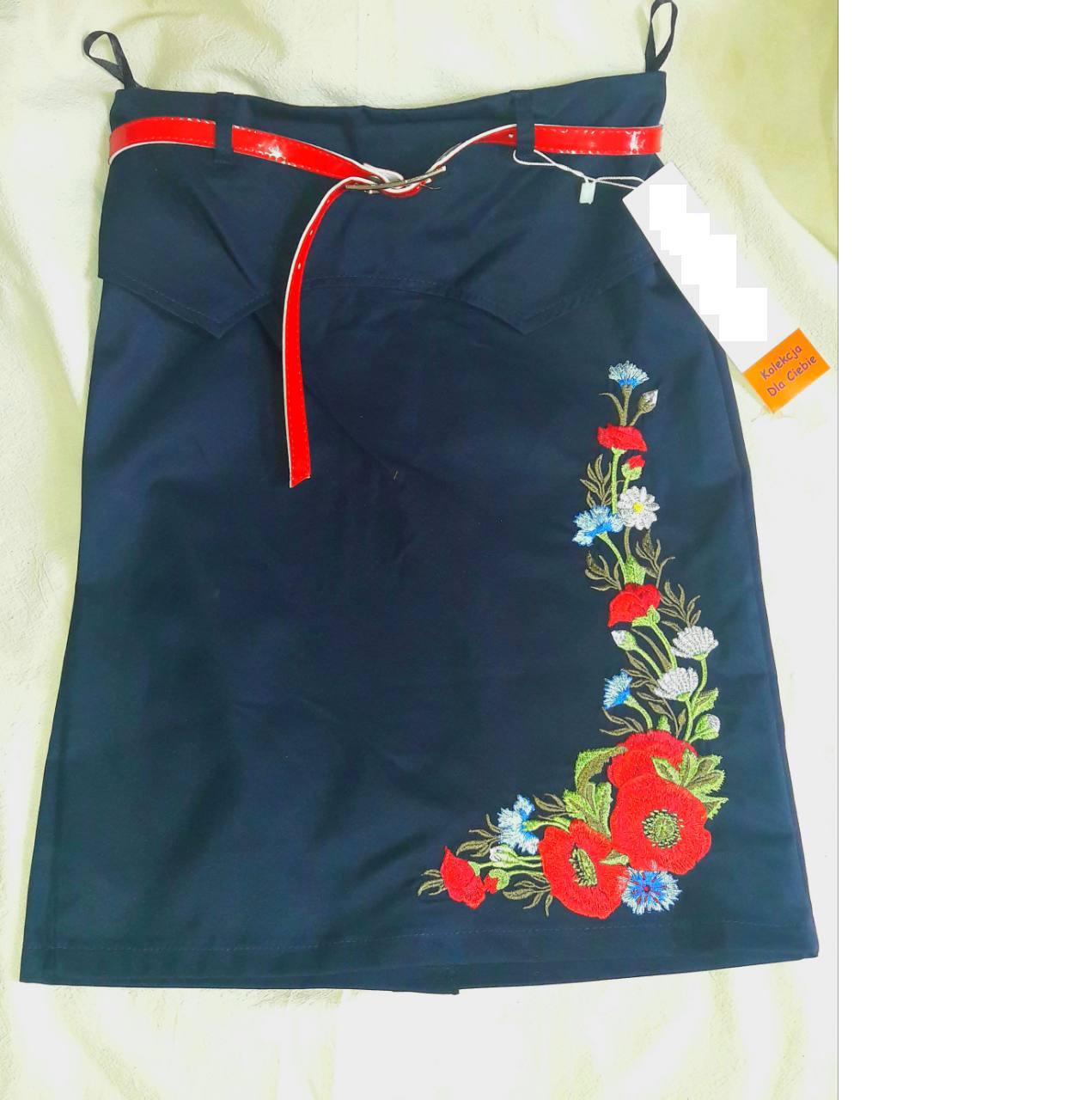 Синяя юбка с вышивкой