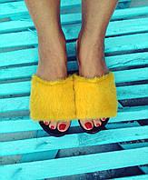 Шлепки из натуральной окрашенной норки, желтый