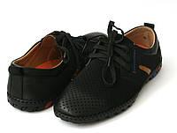 Мокасины мужские черные на шнурках