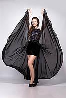 Платье женское мини черное бархатное 42, XL
