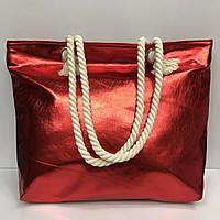 Пляжная сумка 2260 из кожзама на канатах металлик в разных расцветках