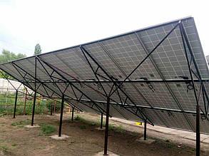 наземная система креплений солнечных панелей трехрядная двух опорная
