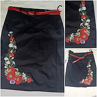Модная вышитая юбка черного цвета, рост 122-146 см., 195/165 (цена за 1 шт. + 30 гр)