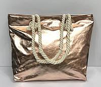Пляжная сумка из кожзама на канатах металлик в разных расцветках 2260 Розовый