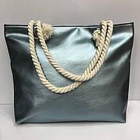 Пляжная сумка из кожзама на канатах металлик в разных расцветках 2260 Голубой