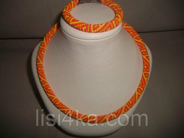 Узорный вязаный комплект жгутов из бисера желто-оранжевый графичный