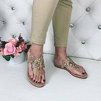 Женские босоножки с камнями, эко кожа, золотые / босоножки женские, стильные