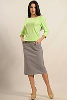 Костюм-двойка состоит из блузы (кофты) в продольную полоску и юбки-миди, 42-52 размеры, фото 1